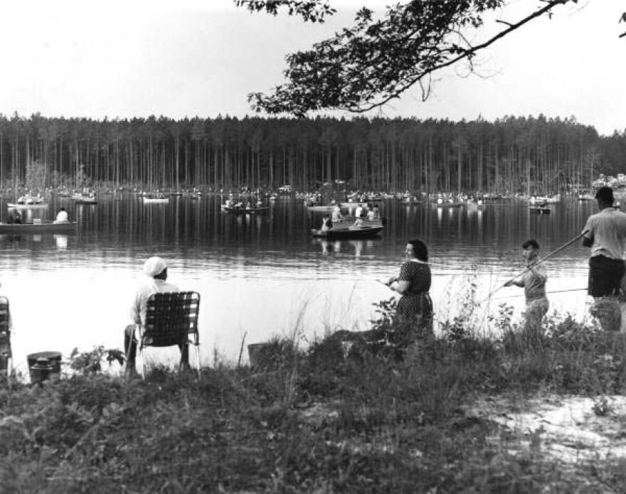 People fishing during Karick Lake's opening day in 1966.