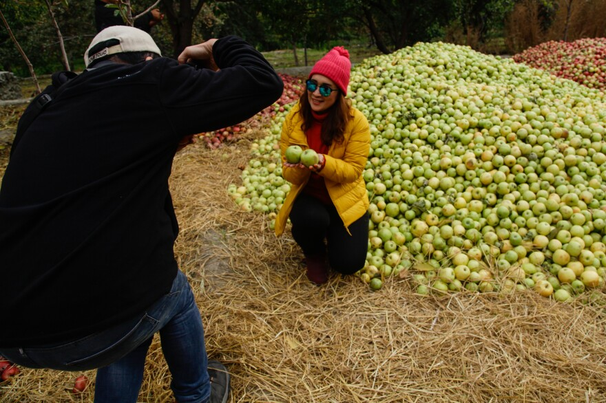 "Thai tourists pose in piles of picked apples in an orchard in the village of Murtazabad. For some, visiting the area was on their ""bucket list."""