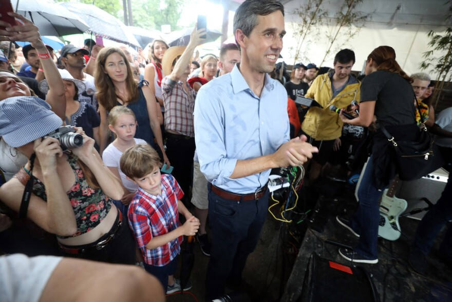 Hundreds of supporters braved summer rainstorms to see United States Congressman Beto O'rourke at a rally in East Austin. The three-term representative is challenging Republican incumbent Ted Cruz for a seat in the US Senate.