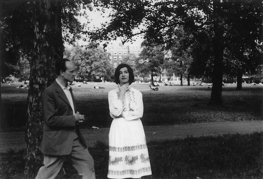 """""""Men are either lovers or brothers,"""" says Edna O'Brien, pictured here with her husband, the writer Ernest Gebler, in London in 1959. The couple's marriage dissolved when O'Brien began to achieve literary success."""
