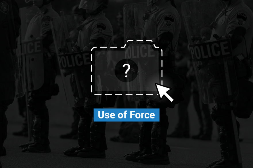 A folder with a question mark on it overlays a row of police officers