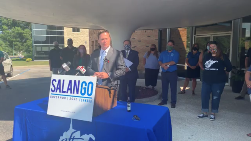 West Virginia Democratic gubernatorial candidate Ben Salango speaks to the public and media at a press conference in Charleston on July 20, 2020.