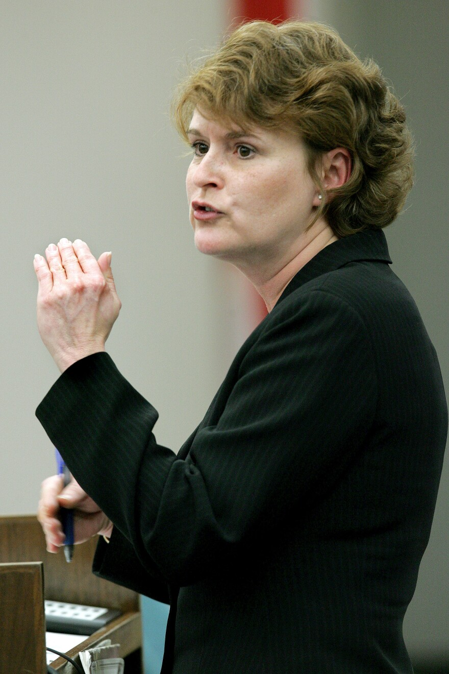 Amy Baker, Director of the Legislative Office of Economic and Demographic Research, discusses issues regarding slot machines during a meeting of the House Business Regulation committee, Thursday, March 10, 2005, in Tallahassee, Fla.