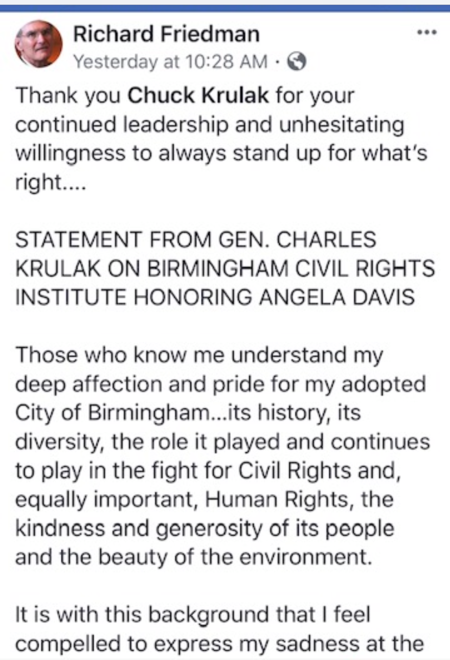 A portion of a statement by Charles Krulak posted on Facebook last week.