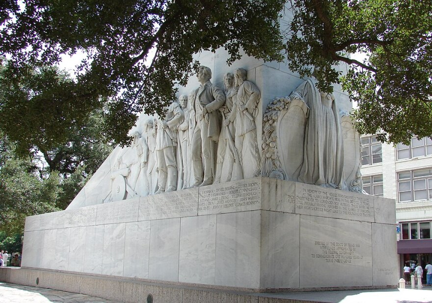 The cenotaph at the Alamo is a monument to the Texans who used the mission as a fortress in 1836.