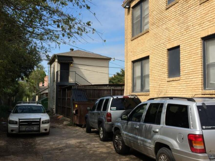 Dallas police monitored the back alley next to the apartment where a healthcare worker lives. She has tested positive for the Ebola virus and is being treated at Texas Health Presbyterian Hospital in Dallas. Resident Brandon Babayans provided KERA with this photo.