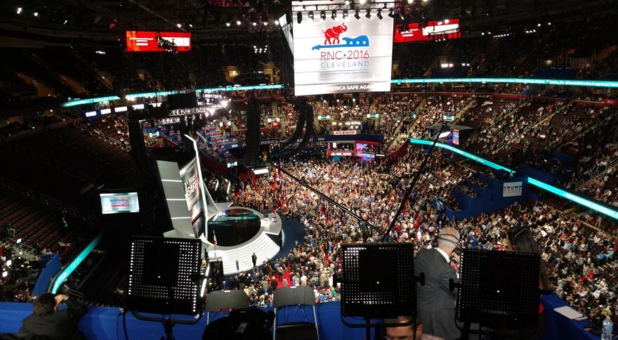 The area where the press can find seats is just a little high up in the arena. Cleveland RNC