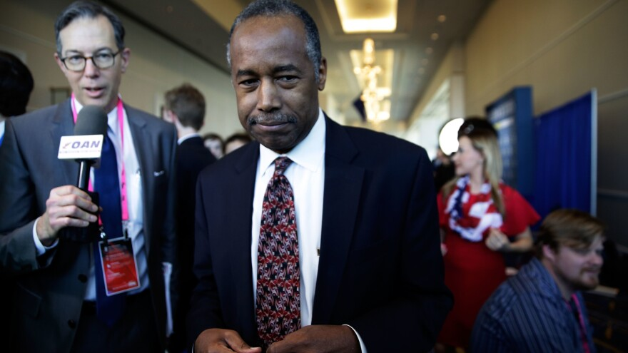Secretary of Housing and Urban Development Ben Carson, seen here in February, spoke before the House and Senate appropriations committees Wednesday.