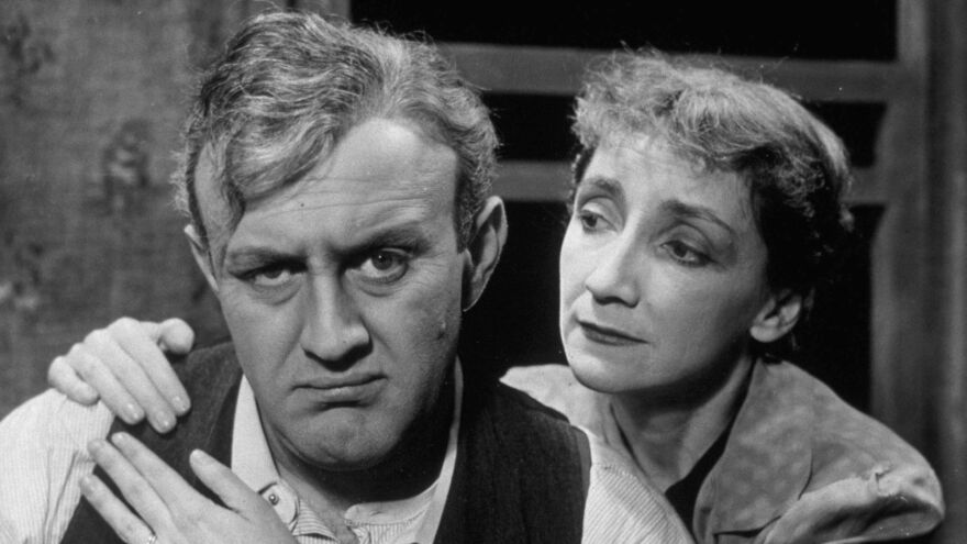 Lee J. Cobb and Mildred Dunnock in a production of Arthur Miller's <em>Death of a Salesman</em> in 1949.