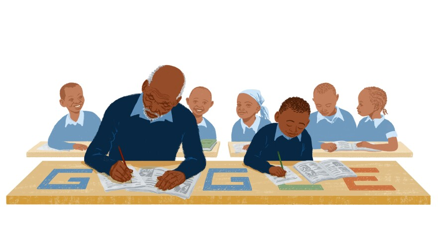 Kimani Maruge became a first-grader at age 84. The Google doodle shows him in his school uniform.
