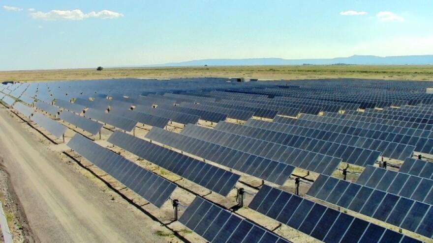 Photo of a solar farm.
