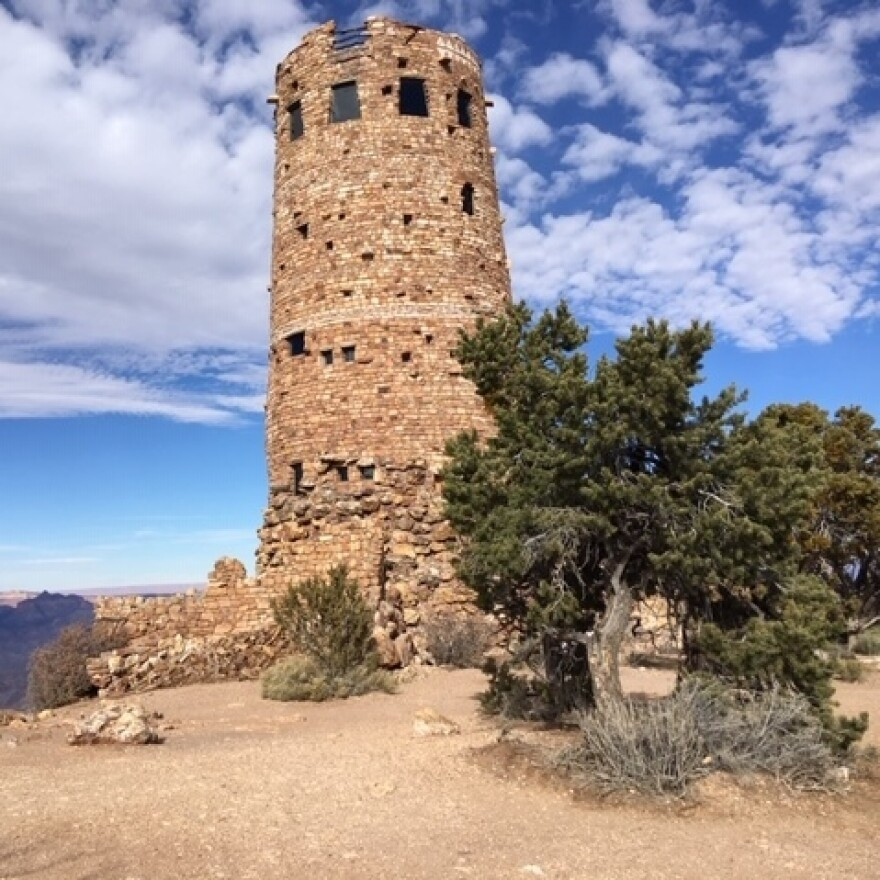 Architect Mary Colter modeled the Desert Watchtower, a 70-foot-tall structure on the southeastern rim of the Grand Canyon, after an Ancestral Puebloan building.