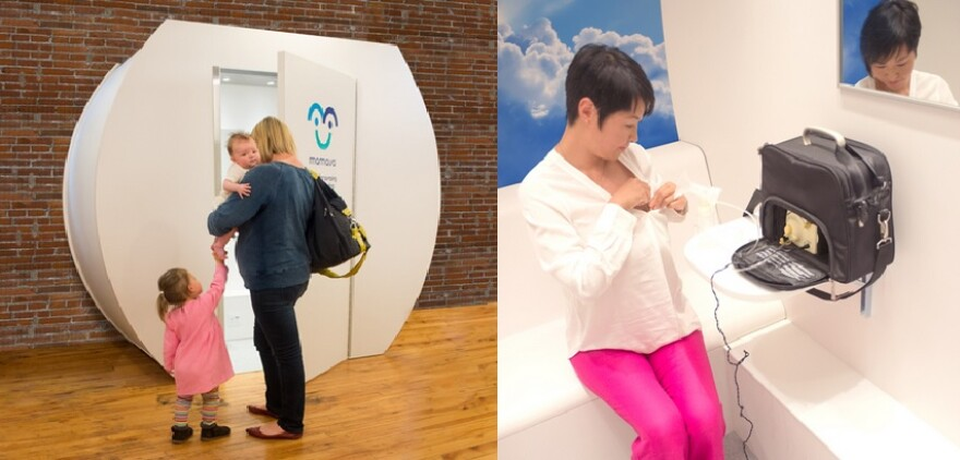 An example of the inside and outside of the Mamava Lactation suite, or pod