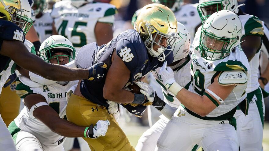 Notre Dame beat USF 52-0 on Sept. 19. Both teams have stopped on-field activities after a number of ND players tested positive for coronavirus following the game.