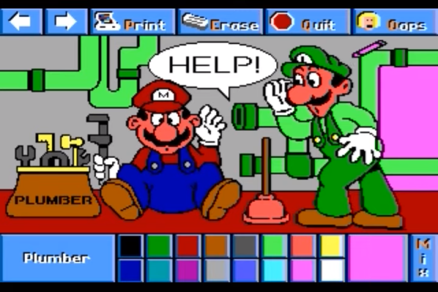 <em>Super Mario Bros. & Friends: When I Grow Up</em> is essentially a digital coloring book that lets you imagine different careers for Mario, besides plumbing.