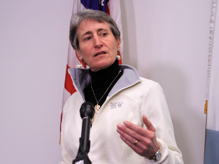Interior Secretary Sally Jewell speaks in Anchorage, Alaska. The Obama administration is requiring companies that drill for oil and natural gas on federal lands to disclose chemicals used in hydraulic fracturing operations.
