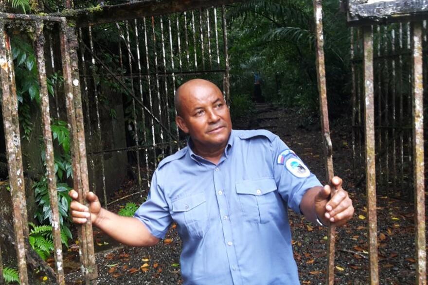 Corazón de Jesus Aguiño, a park ranger who oversees a small museum of the penal colony.