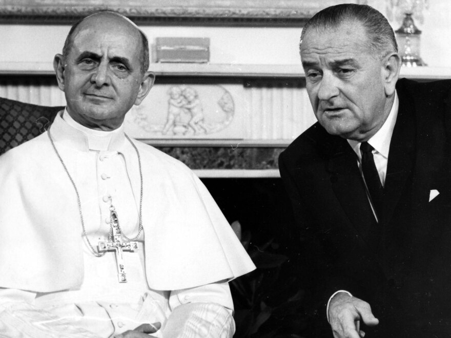 President Lyndon Johnson met with Pope Paul VI, the first pope to visit America, in New York City in 1965.