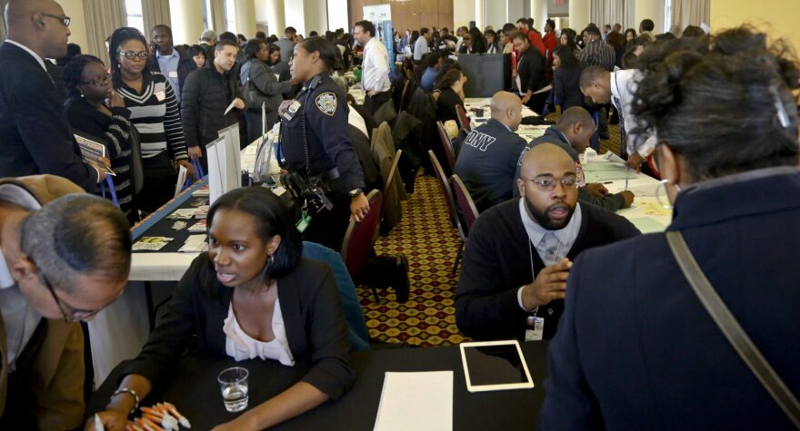 Job seekers attend the New York Department of Citywide Administrative Services (DCAS) 2016 job fair, Wednesday Nov. 2, 2016, in New York. (Bebeto Matthews/AP)