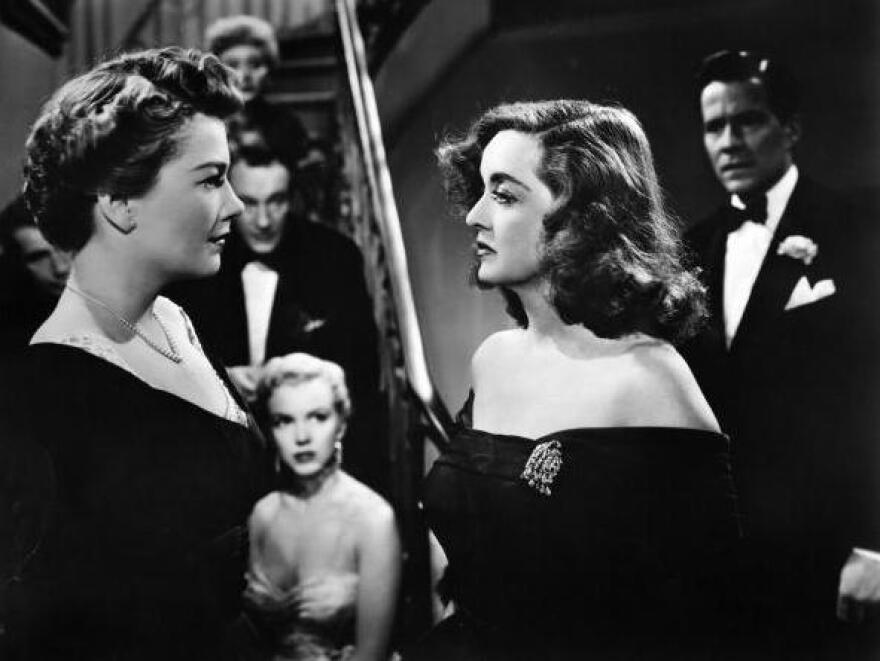 Eve Harrington (Anne Baxter, left), and Margo Channing (Bette Davis) play Broadway rivals in Joseph L Mankiewicz's <em>All About Eve</em>.