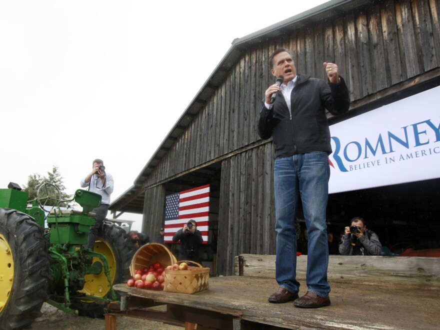 GOP presidential candidate Mitt Romney campaigns in Gilbert, S.C., earlier this year.