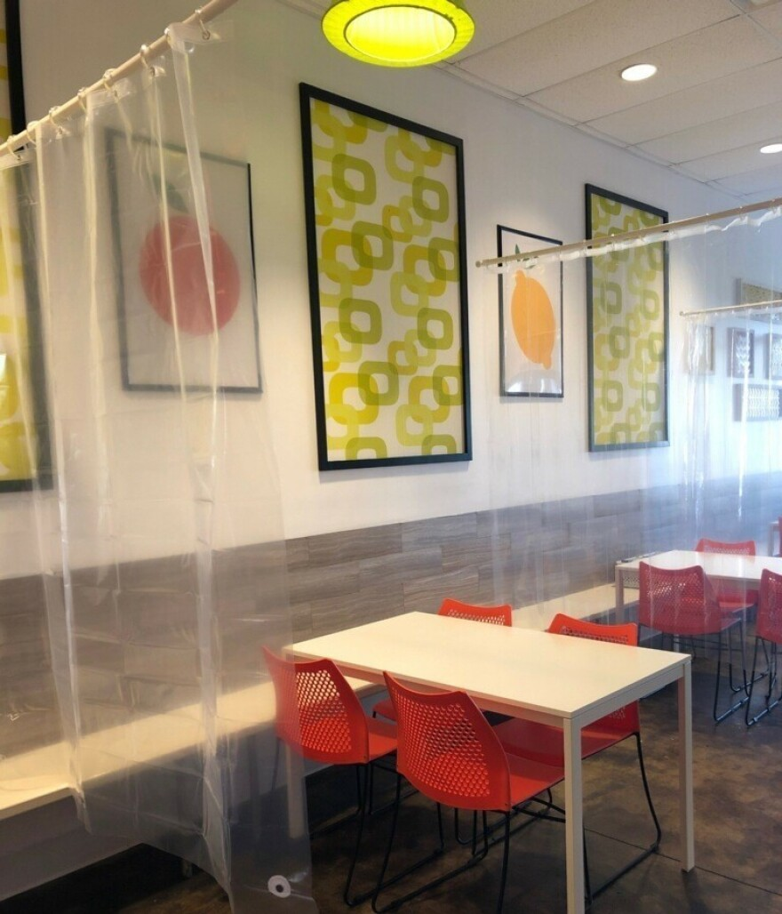Twisted Citrus owner Kim Shapiro says workers will replace and clean each shower curtain after a party is finished with their meal.