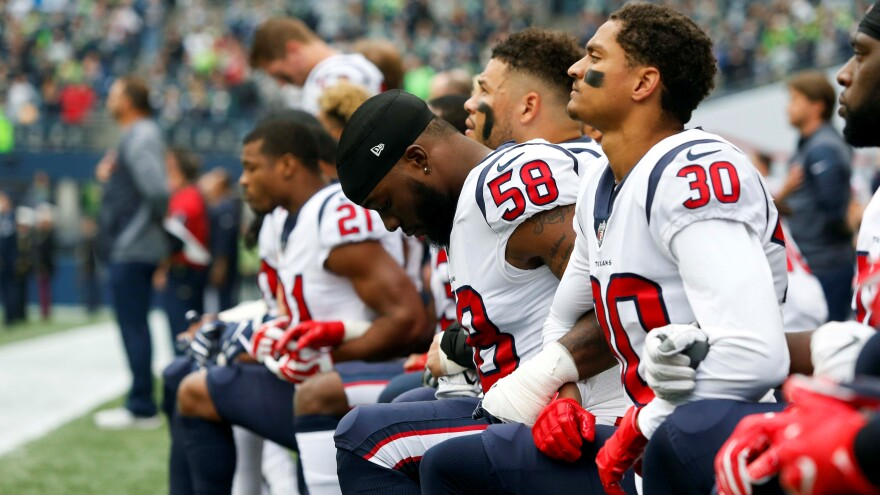 NFL players from the Houston Texans and other teams chose to take a knee during the national anthem before kickoffs in the 2017 season.
