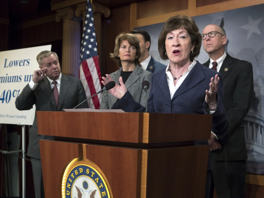 Sen. Susan Collins, R-Maine (center), is joined on Wednesday by Sen. Lindsey Graham (from left), R-S.C., Sen. Lisa Murkowski, R-Alaska, and Rep. Greg Walden, R-Ore. Collins was pushing for provisions in the budget bill aimed at lowering premiums for people purchasing health insurance in the Affordable Care Act's marketplaces. That didn't happen.