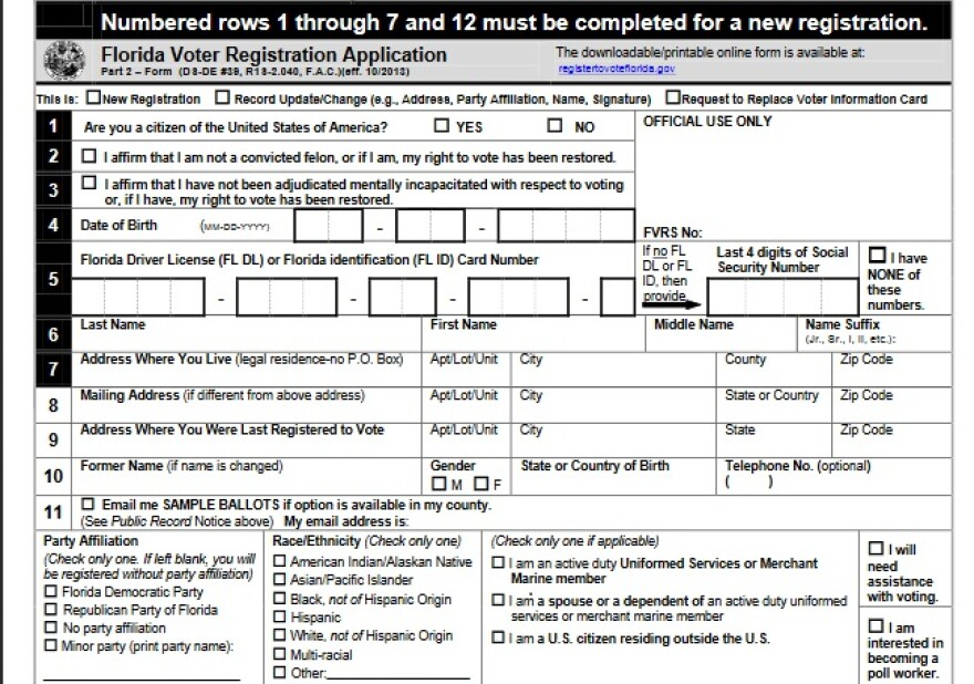 A Florida voter registration application