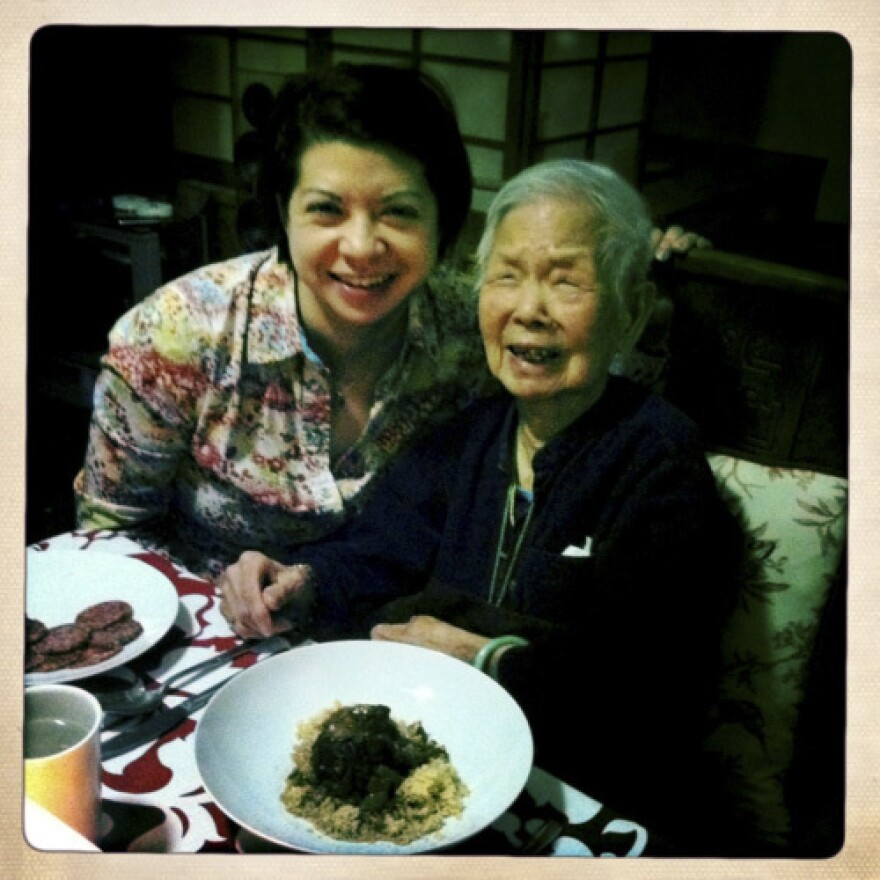 """This is me and my grandma, May Lee, who is turning 105 in June. I live with her and my aunt so I can help take care of her. I also <a href=""http://lunchwithgrandma.tumblr.com/"">have a blog</a> with a friend all about our grandmas!"""