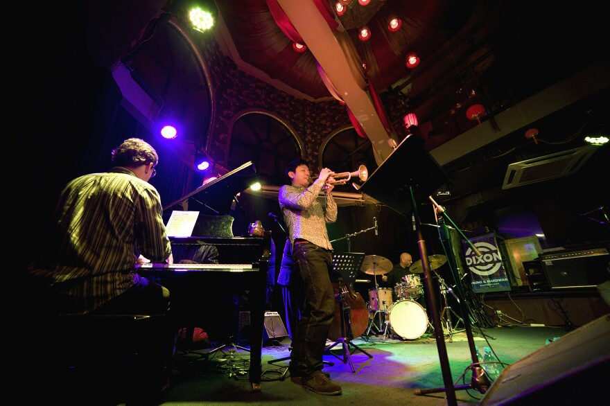 A jazz performance at the JZ Club in Shanghai. The club attracts an eclectic crowd, which on the evening NPR visited included a group of female musicians who play traditional Chinese music.