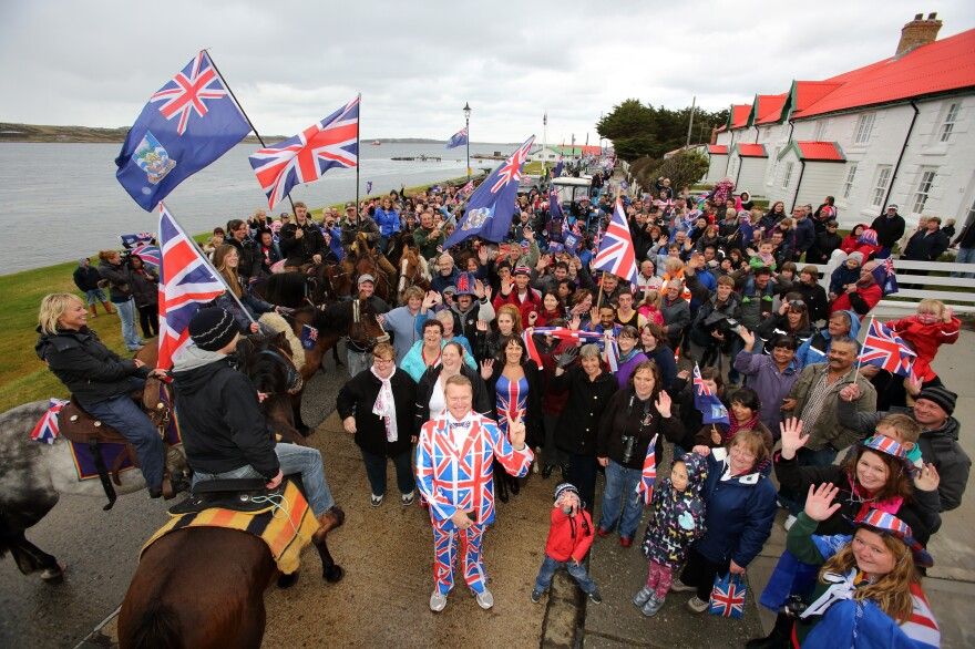 Residents gather in Stanley, Falkland Islands on Monday, during a referendum intended to show the world that they want to stay British amid increasingly tense relations with Argentina.