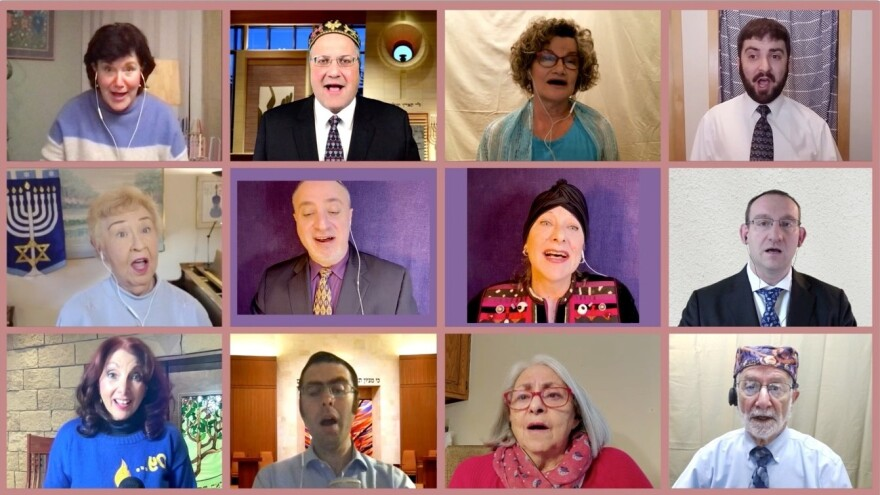 The Cantors of Wisconsin perform over a video call. On Sunday, for the first time ever, about a dozen Wisconsin cantors will virtually broadcast a mix of Hanukkah tunes, both traditional and reimagined.
