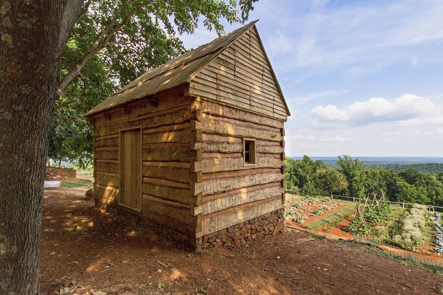 A reconstructed storehouse is among the sites along Mulberry Row featured in the Slavery at Monticello app. At various times it served as a workshop, tin shop and slave dwelling.