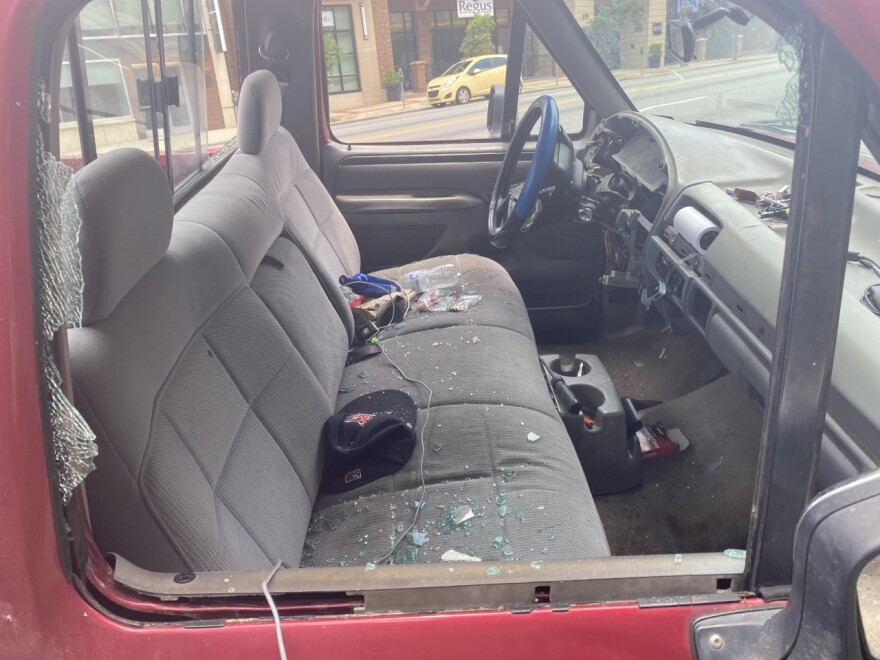 Pictured is the interior of a red truck that ran into protesters in downtown Tallahassee on Saturday, on Monroe Street. Tallahassee police have not made an arrest yet on the man who was driving. The truck had a Georgia license plate.