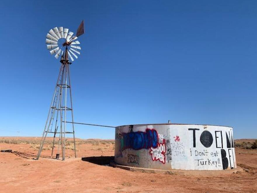 Many Navajo haul non-potable water from windmills like this one for their sheep and to do the washing. Other sources range from water stations to natural springs. Now they must balance an order to shelter in place with the need to bring water back for their homes.