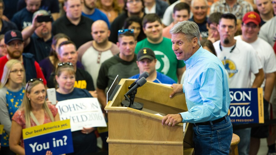 Libertarian presidential candidate Gary Johnson speaks during a campaign rally earlier this month at Grand View University in Des Moines, Iowa.