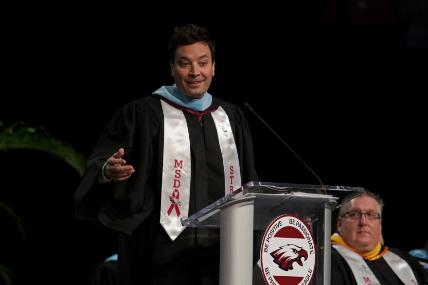 Jimmy Fallon gives a commencement speech to Marjory Stoneman Douglas High School seniors during their graduation ceremony on Sunday, at the BB&T Center in Sunrise, Fla.