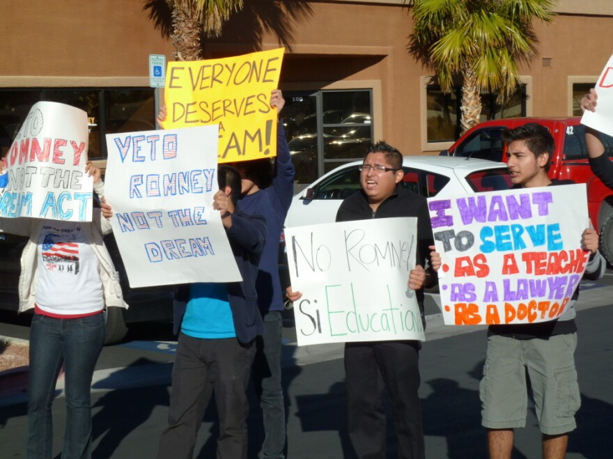 Latinos protest Mitt Romney's opposition to the Dream Act, outside his campaign headquarters in Las Vegas on Feb 2.