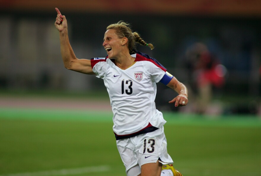 Kristine Lilly reacts after scoring during a quarter final match at the 2007 Women's World Cup.