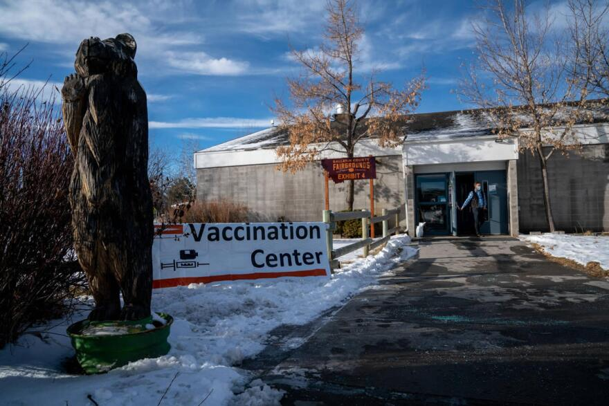 A COVID-19 vaccination center at the Gallatin County Fairgrounds, January 6, 2021.