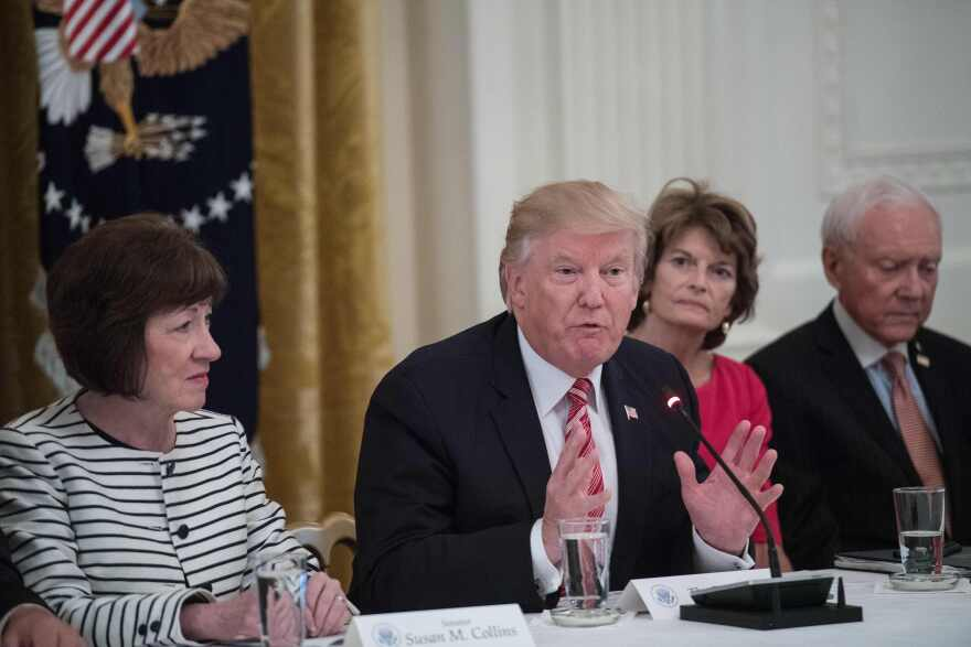 Republican Sens. Susan Collins of Maine (left) and Lisa Murkowski of Alaska, with President Trump in 2017, are keeping their distance from the president over his handling of the protests.