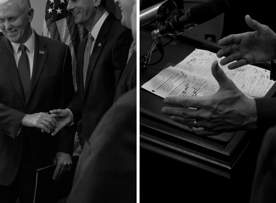 Then Vice President-elect Mike Pence, left, shakes hands with Speaker of the House Paul Ryan, R-Wis., before speaking on repealing Obamacare, right, during the weekly House GOP meeting.