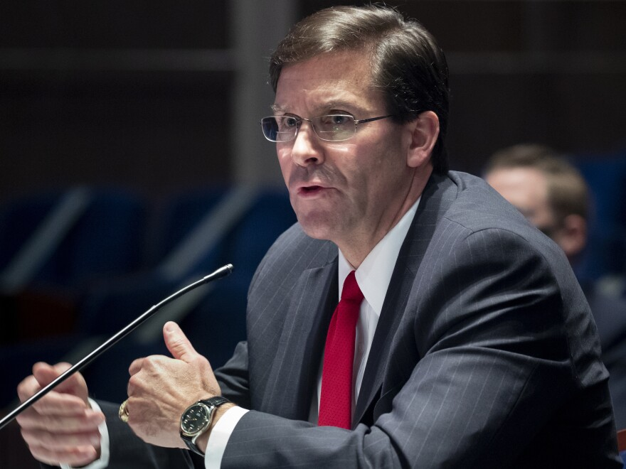 Defense Secretary Mark Esper, pictured last month, spoke with his Chinese counterpart Thursday amid strained relations between the two countries.