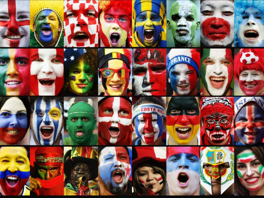 A composite image of fans of each of the 32 national teams participating in the 2018 FIFA World Cup in Russia.