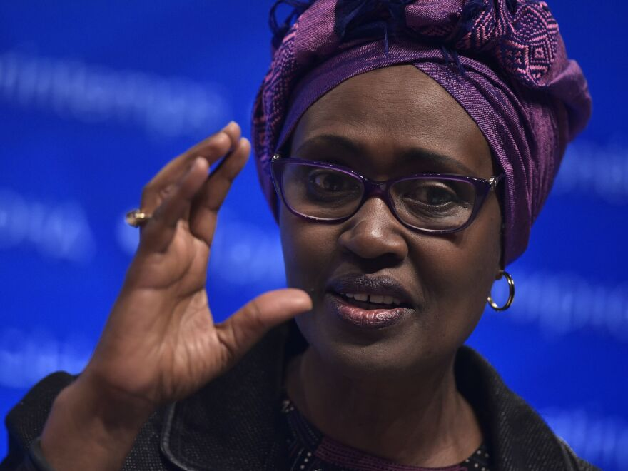 Oxfam International Executive Director Winnie Byanyima speaks at a forum at the World Bank Spring Meetings in 2016.
