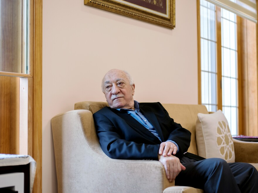 Fethullah Gulen sits in a room at his compound in Saylorsburg, Pa. He has lived in exile in the United States since the late 1990s. Turkish President Recep Tayyip Erdogan blames Gulen for last year's failed coup and is seeking his extradition.