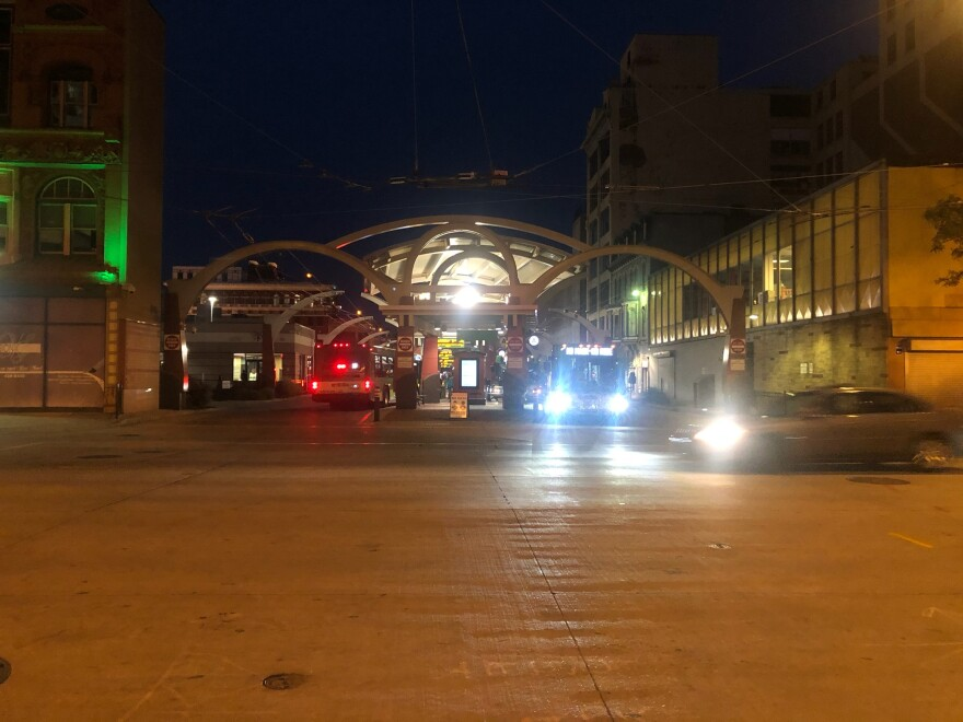 The downtown Dayton RTA station on a weekday evening