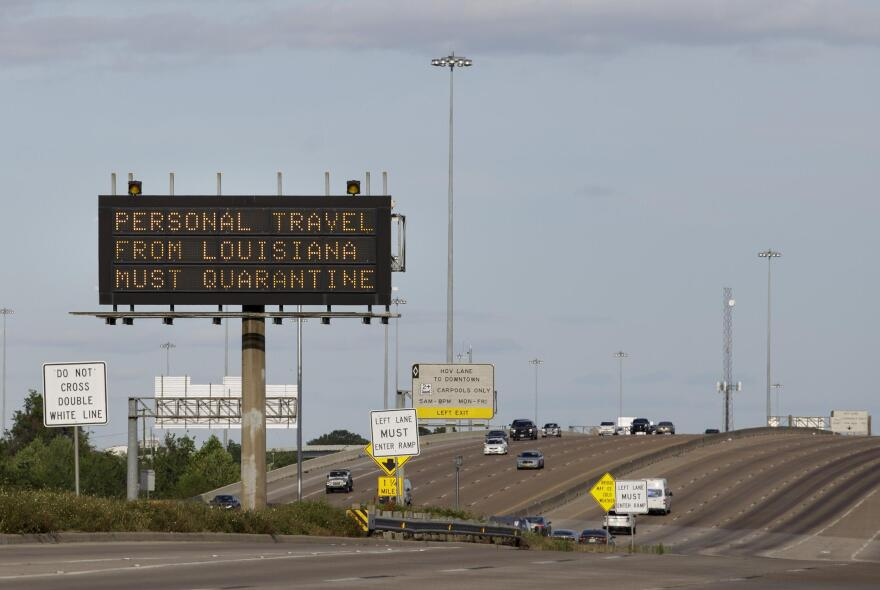 A TXDOT sign on a highway near Houston during the coronavirus pandemic on April 1.