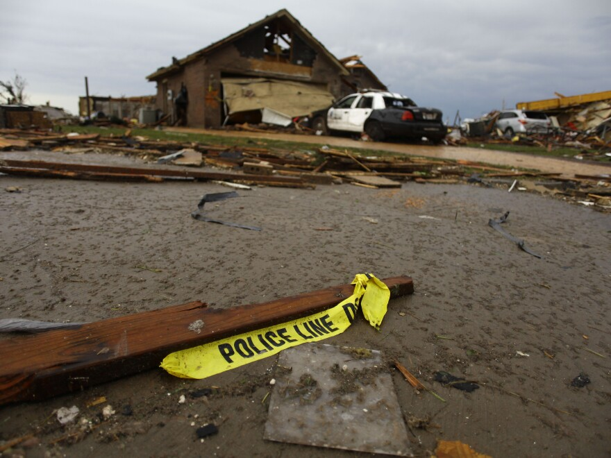 A heavily damaged home in Moore on Monday. Chances are, it doesn't have a basement.